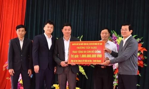 Công ty CP Giấy An Hòa cùng đoàn công tác của nguyên Chủ tịch nước Trương Tấn Sang thăm và làm việc tại Tuyên Quang