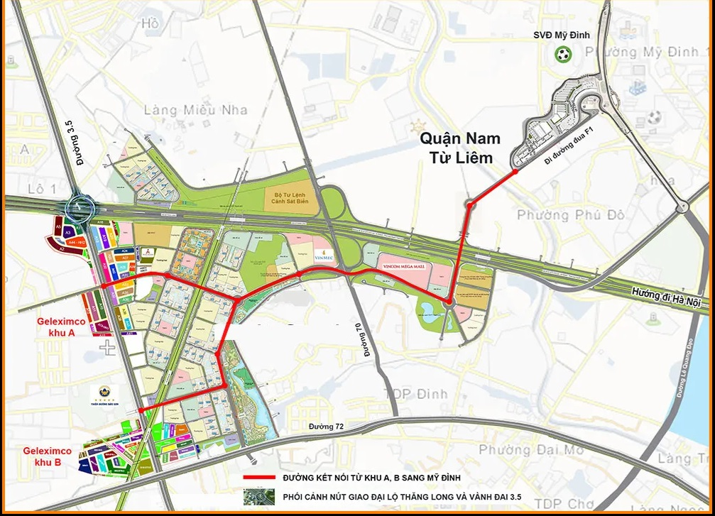Đường mới từ Khu A Geleximco Lê Trọng Tấn qua Vinhomes Smart City đi khu đô thị Mỹ Đình