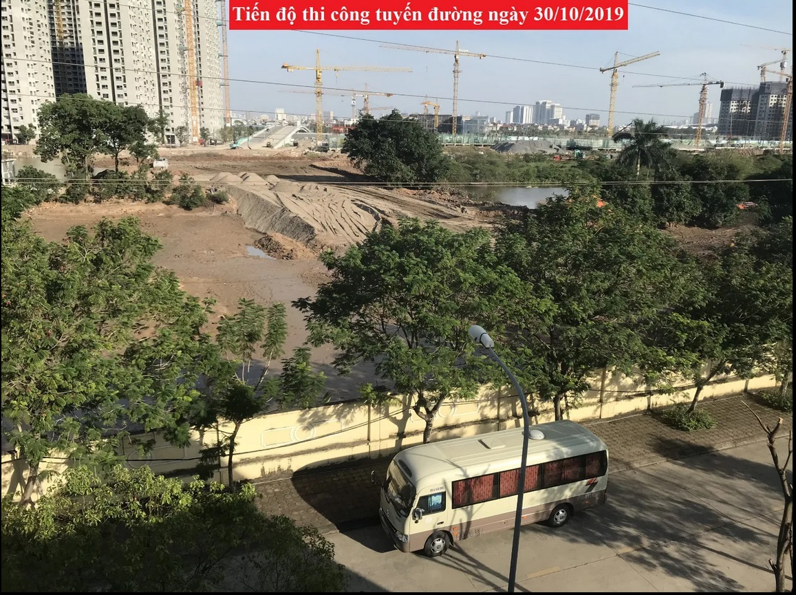 Tiến độ thi công tuyến đường cập nhật ngày 30/10/2019 tại cuối khu A Geleximco Lê Trọng Tấn